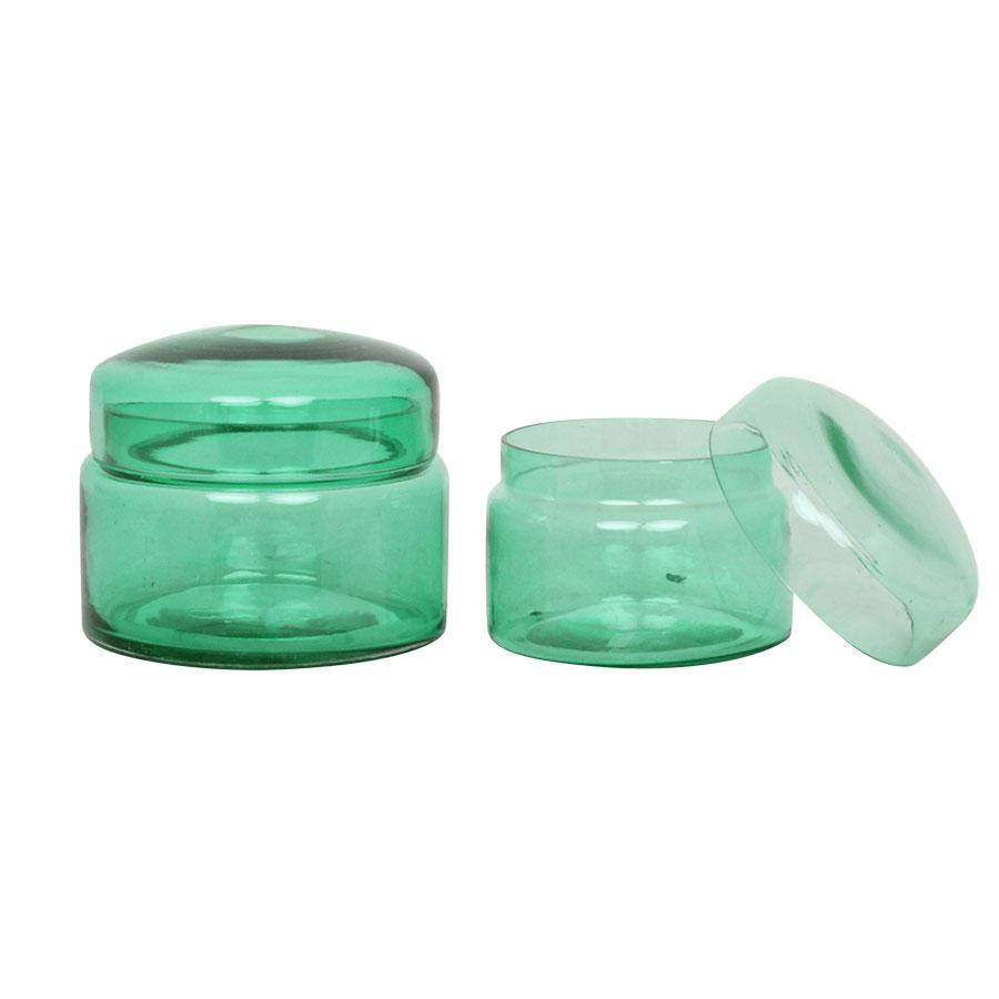 Grön glasask