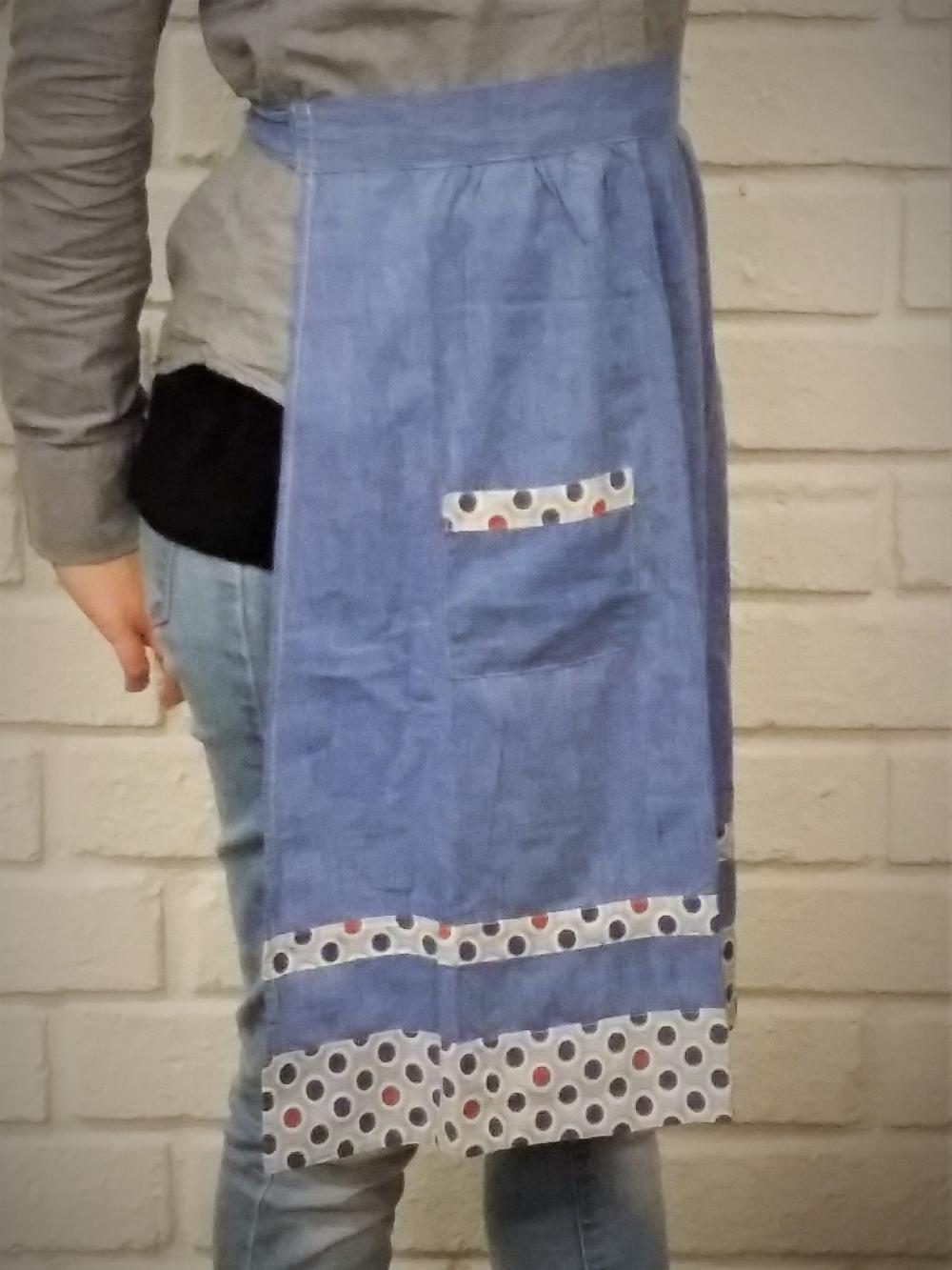 Midjeförkläde, blå med bård S-M